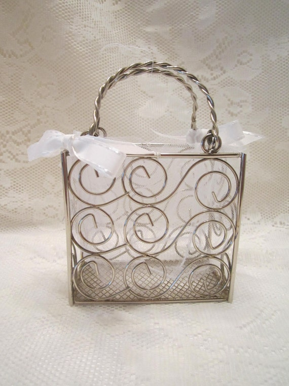 Silver Steel Wire Flower Girl Purse/Basket with Tulle Insert and Satin Bows
