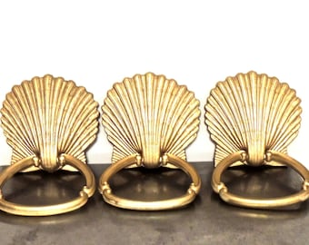 vintage mid century gold shell towel bars 3 available