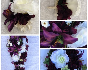 Custom Plum Cascading Bride's Bouquet, Plum Bridal Bouquet, Plum Wedding Bouquet
