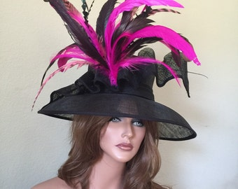 Black Hot Pink Kentucky Derby Sinamay Hat