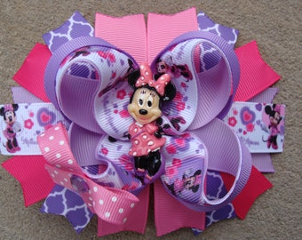 Minnie Mouse Hair Bow-Large Hair bow - Pink and Purple Polka Dots Minnie Mouse Hair Bow large boutique hair bow lavender and pink hair bow