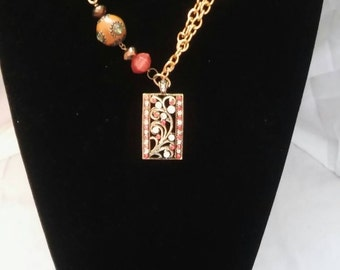 Orange Charm Pendant Necklace