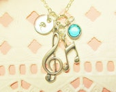 Personalized Sterling Silver Treble Clef and Music Note Necklace, Music Necklace