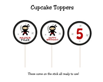 Ninja birthday party cupcake toppers  Ninja party