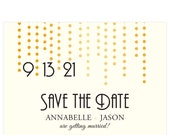 Chandelier pattern gold Save the Date; SAMPLE ONLY