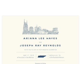 Center State Nashville Skyline - Wedding invitation SAMPLE ONLY