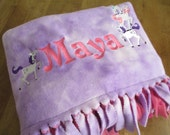 Fleece Throw Blanket - Personalized Machine Embroidered for Liana - RESERVED for Felice