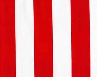 Fabric Destash Two by Two Stripes in Red by Michael Miller Fabrics Cotton Quilting Clearance