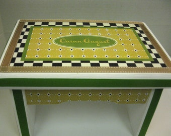 Black and White Check with Yellow and Green Dot Sturdy Bench