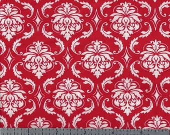 Cotton Fabric - Damask Red and White Print - 3 Lengths Left - You Choose
