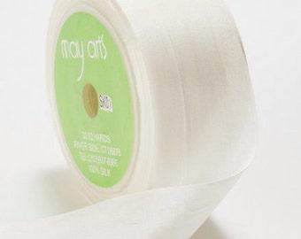 3 yds WHITE Silk Ribbon 1.25 inches wide   cheswickcompany