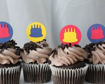 Birthday Cake Party Cupcake Toppers