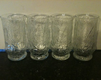 Vintage Set of 4 Anchor Hocking Daisy Glasses