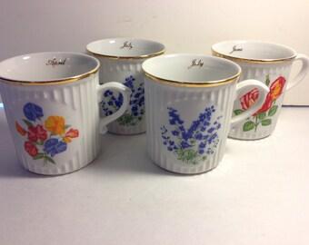 Vintage Set of 4 Original Bohemia mugs