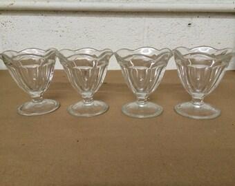 Set of 4 Vintage Sundae Glasses