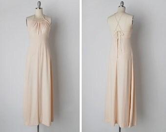 vintage 1970s dress / 70s crochet dress / 70s maxi dress / Indénié dress