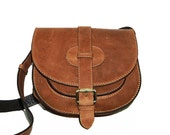 Reserved for Tine - Goldmann S // Leather Saddle Bag in vintage tan // Free leather set ( pouch & coin purse)