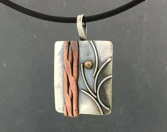 Sterling, copper and bronze tree pendant, setting sun, mixed metal jewelry, unisex pendant