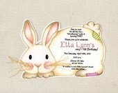 Personalized - Easter - Birthday - Bunny - Party - Invitations - Handcut - Rabbit - Whiskers - Invite - Sara Jane - Printed - Set of 10