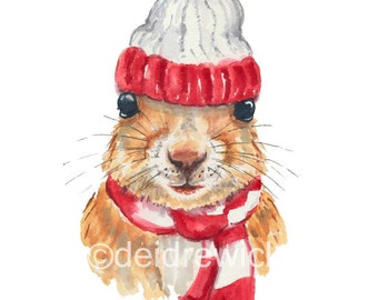 Squirrel Watercolor PRINT - 5x7 Painting, Winter, Squirrel in a Hat, Canadiana, Nursery Art