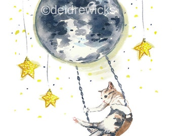 Moon and Cat Watercolor Painting PRINT - 8x10 Illustration Print, Calico Cat, Night Sky, Nursery Art