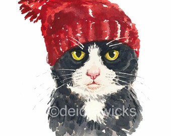 Tuxedo Cat Watercolor PRINT - 5x7 Illustration Print, Cat in a Knit Hat, Cute Cat, Animal Painting