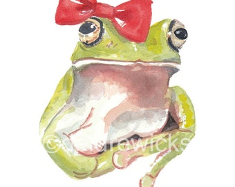 Frog Watercolor PRINT - 8x10 Illustration, Frog with a Bow, Nursery Art, Cute Frog