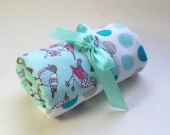 Handmade Flannel Baby Blanket - Colorful Birds on Aqua with Polka Dots - Reversible Baby Blanket, Baby Shower Gift, Receiving Blanket