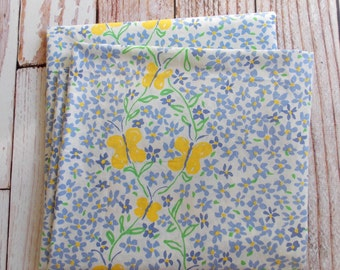 Vintage Queen Flat Sheet / Yelliow Butterfly & Blue Floral / Vintage Linens