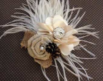 Small business sale, Ivory, winter, Wedding hair accessory, Feather, fascinator, bridal, bridesmaids, comb, pine cone, Peacock, facinator  -