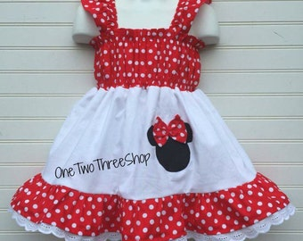 Custom Boutique Minnie Mouse Cap Sleeve Dress 12 Months to 6 Years