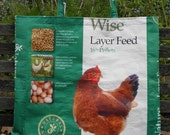 VALUE PRICED, X-Large Upcycled Recycled Repurposed  Tote, Grocery, Market or Gift  Bag for Chicken Lovers