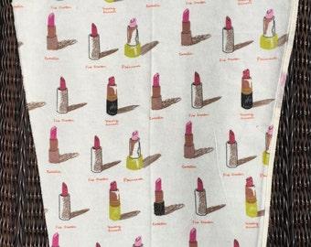 SALE : Heather Ross Munki Munki PJ sleeve panel Flannel Lipsticks