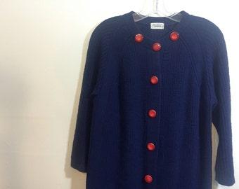 Vintage Cardigan Sweater Dress // Navy Blue Extra Long 1960s Knit Sweater // Oversized Cardigan Sweater Plus Size Large XL
