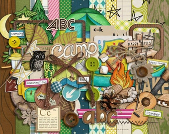 Summer Camp - Digital Scrapbooking kit for Camping / Outdoors INSTANT DOWNLOAD
