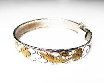 Sterling Silver Flower Bracelet - Mesh Flexible Design with Goldtone Floral Motif - Signed 925 - 1960's - 1970's Era Vintage