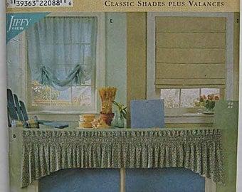 Window Treatments, Valances, Roman Shades, Simplicity 8353 Sewing Pattern UNCUT