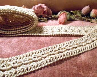 Antique Lace Vintage Trim Craft Supply Hand Made Lace Embellishment 1920s Lace