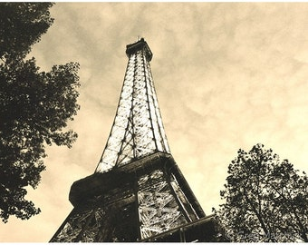 "Fine Art Monochromatic Sepia Architecture Photography of the Eiffel Tower - ""Eiffel Tower at Dusk"""