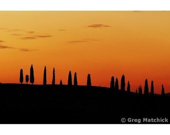 """Fine Art Color Landscape Photography of Tuscany - """"Tequila Sunrise Over the Landscape of Tuscany"""""""