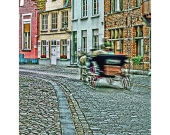 Fine Art Digital Print of Passing Carriage on Cobblestone Street in Bruges (Brugge)