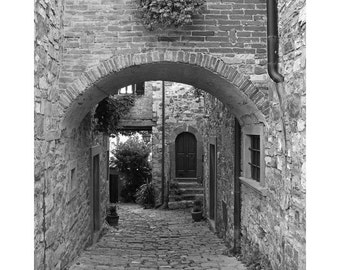 Fine Art Black & White Architecture Photography of Arch and Lane in the Chianti Hill Town of Montefioralle Italy
