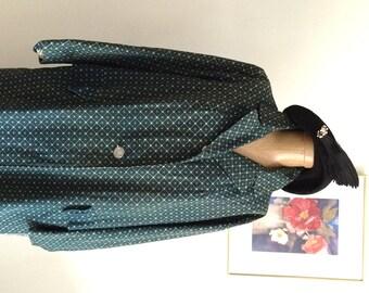 60's Vintage Coat Stylish RainCoat Geometric Pattern Styled by Lanson MOD Rain Coat Diamond Pattern Green and Grey