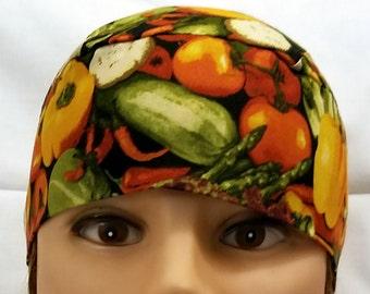 Food Skull Cap, Chemo Cap, Chef,  Cooking, Hats, Hair Loss, Head Wrap, Biker, Motorcycle, Bald, Food Worker, Alopecia, Hat, Handmade, Do Rag
