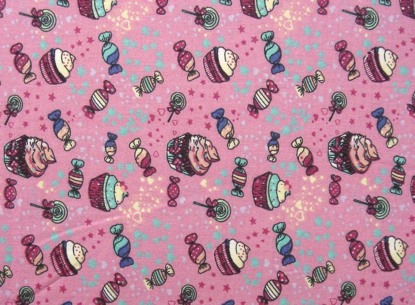 Kids cotton fabric by the yard cupcake and sweets print for Kids fabric by the yard