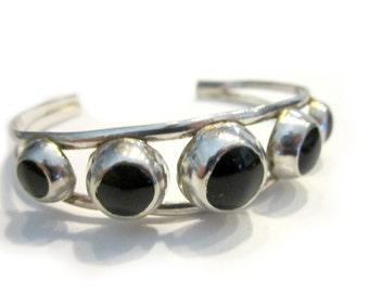 Black Onyx Bracelet Vintage Sterling Silver Black Onyx Gemstone Cuff Bracelet Vintage Jewelry