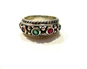 Vintage Gemstone Ring Natural Emerald Sapphire Ruby Bezel Set Gem Ring Sterling Silver Size 8