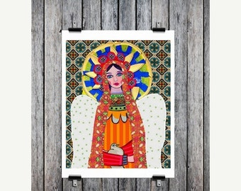 Marked Down 50% - Mexican Folk Art - Art  Art Print Poster by Heather Galler of Painting - Virgin of Guadalupe Angel (HG624)