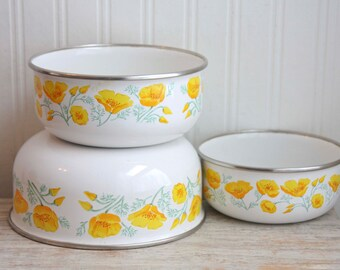 Vintage Enamelware Poppy Flower Mixing Bowls, Orange Poppies, Kobe Kitchen, Vintage Serving Bowl, Stacking Bowl, Cottage Kitchen, Fall Home