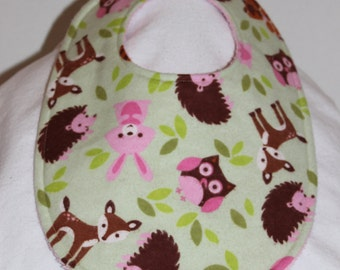 Woodland Animals Flannel / Terry Cloth Bib